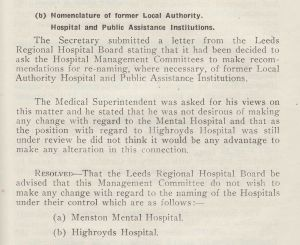 Thoughts On Renaming The Hospital 1948